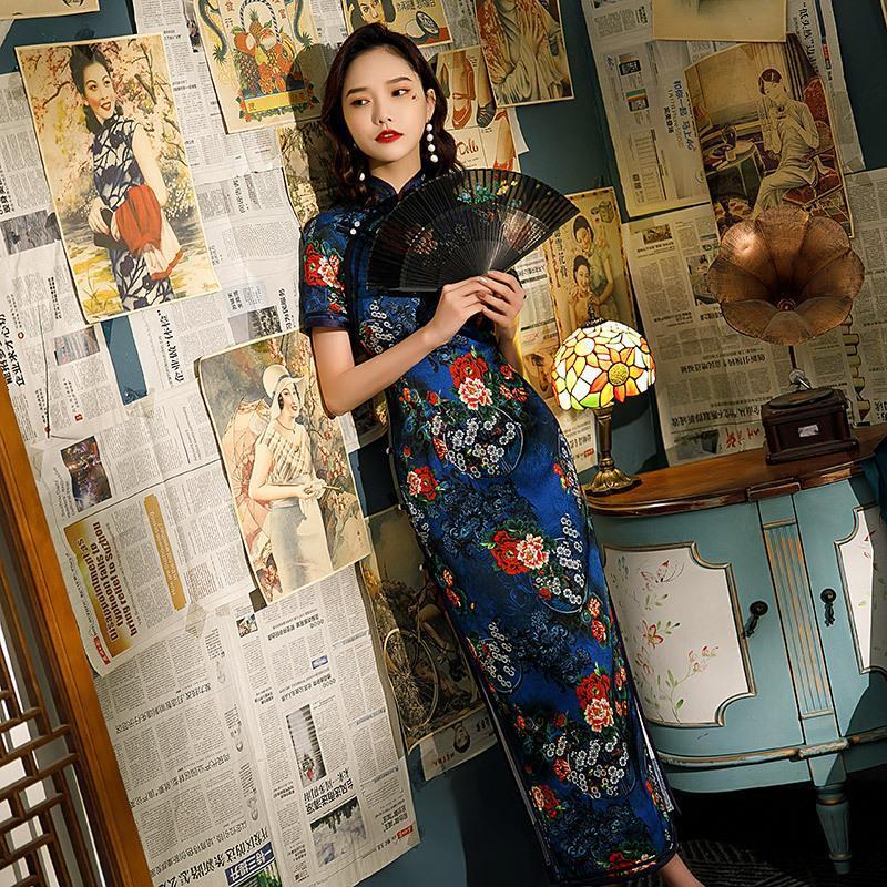 Ethnic Clothing Sexy Jacquard Satin Female Printed Long Qipao Elegant Mandarin Collar Cheongsam Wedding Party Dress Gown Vestidos
