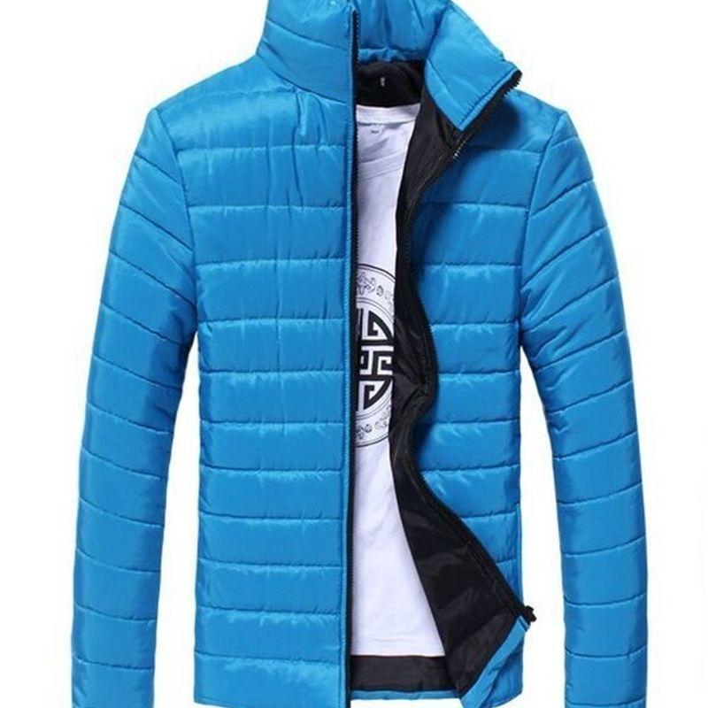 GÜZ-2015 Moda Kış Sıcak Erkek Ceket Katı Standı Yaka Fermuar Fly Ince Nefes Yüksek Kalite Artı Boyutu Coat Sh1518