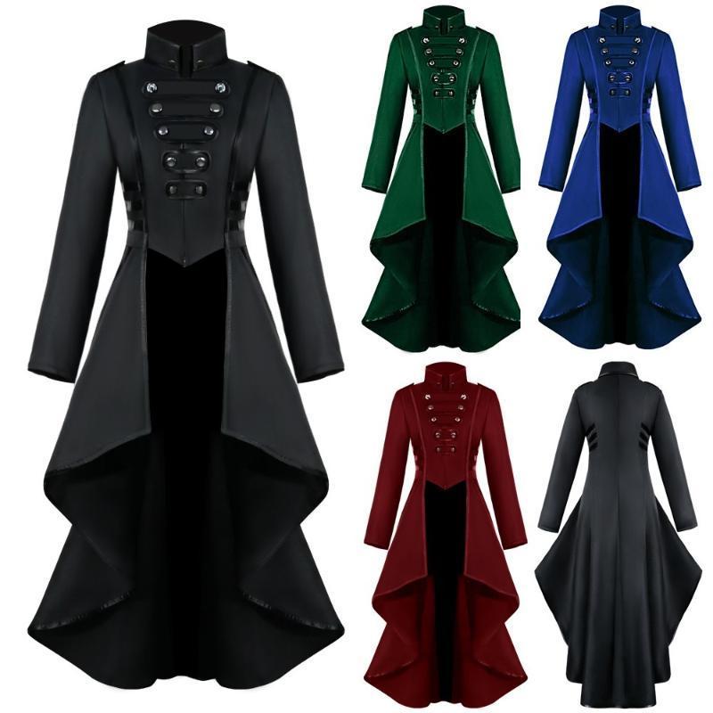 Plus Size Donne Gothic Steampunk Button Jacket Femmina Pizzo Corsetto Moda Moda Costume Halloween Cappotto lungo Ladies Solid Tailcoat 2021 Jac da donna