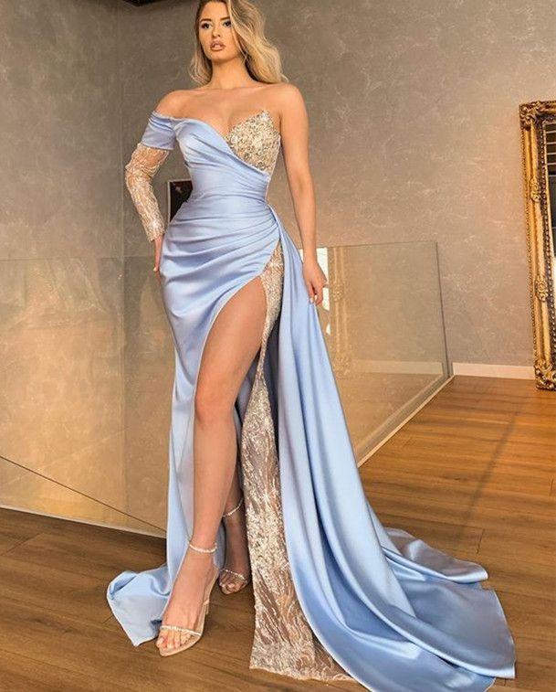 2021 Talla grande Árabe ASO EBI elegante sirena sexy vestidos de fiesta de encaje con cuentas con cuentas de gran división fiesta formal fiesta de la segunda recepción de la tarde. ZJ154
