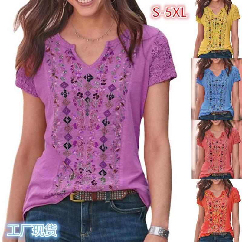 Women T Shirt Summer Print V-neck Retro Short-sleeved T-shirts Fashion Female Casual Tees Plus Size S-5XL Lady Sexy Top