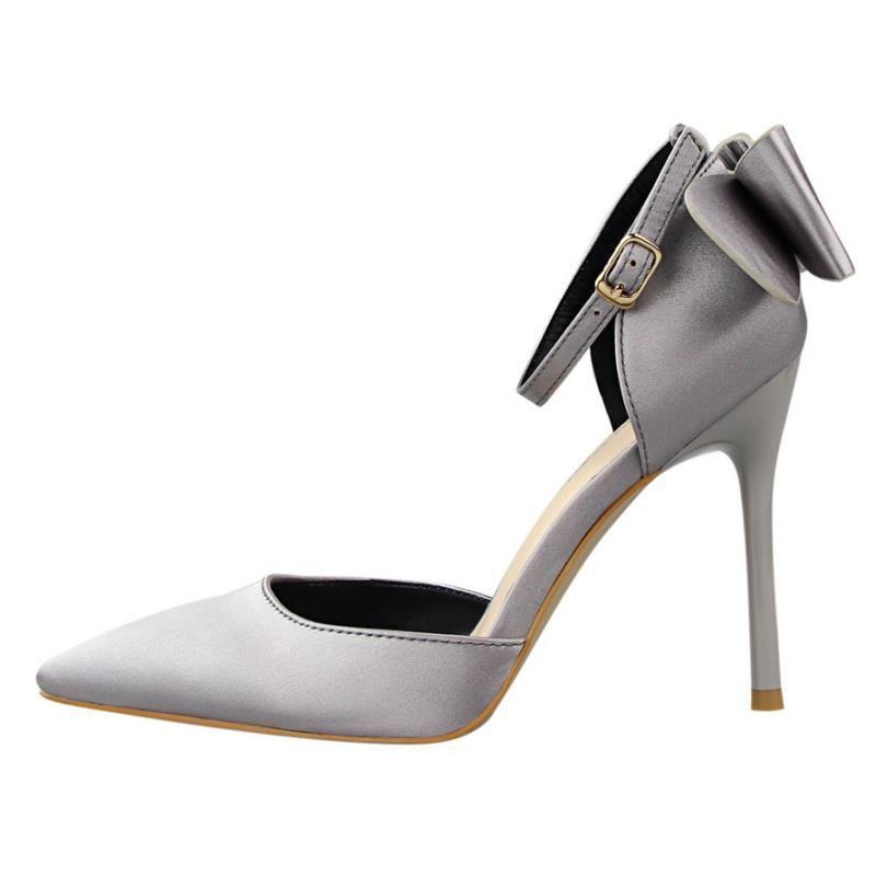 Brand Women Shoes Sandálias Mulher Womem Stiletto Salto alto DS-B0051 Moda Seda Bow Festa Bombas Superfície Sapatos Thin XQMFT
