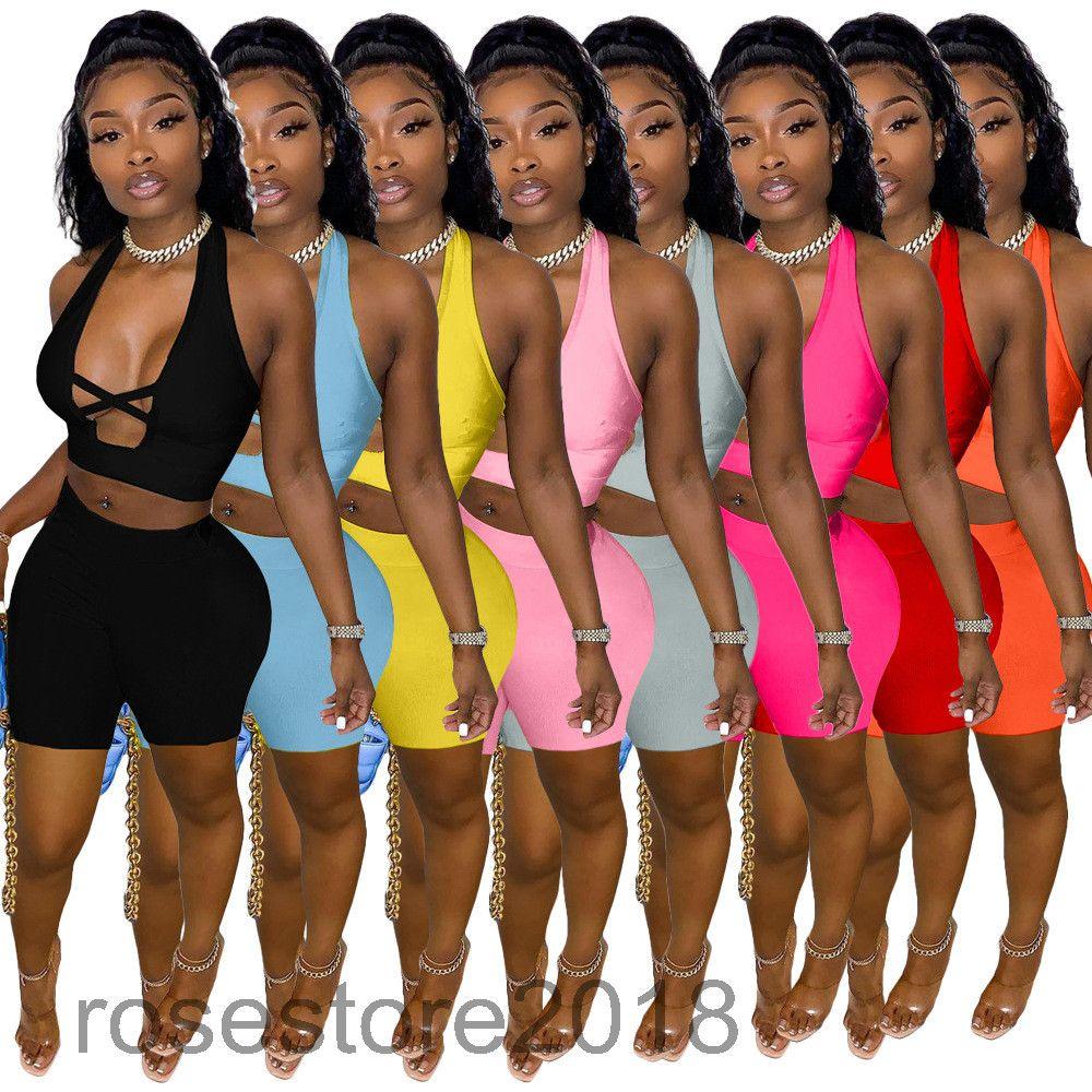 Женская 2021Summer Новый Сплошной Цвет Сексуальный Крест Вырезать Два Части Наборы Дизайнерский Стиль Мода Глубокая V Шея Поладовая Выдачи Жилет Шорты Повседневные наряды