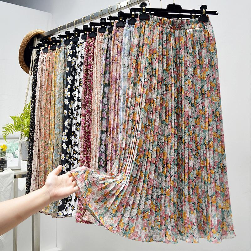 Sommerröcke Womens 2021 Vintage Floral Print Chiffon Plissee Rock Elastische Hohe Taille Casual Midi Frauen Kleidung Jupe