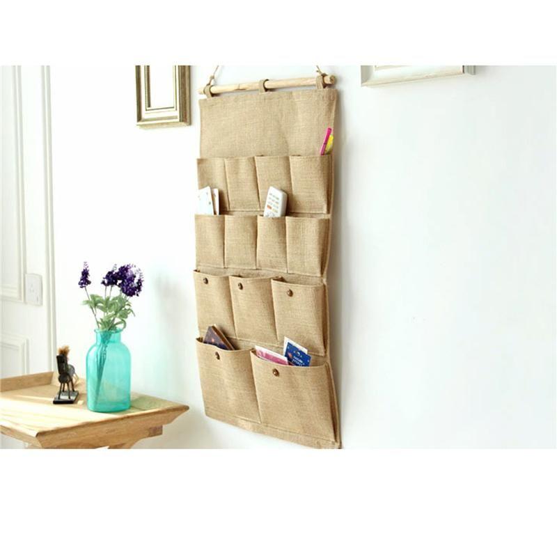 Saklama torbaları duvar mağazası asılı çanta almak ev bez sanat süsleme 13 cep düz pamuk ve keten