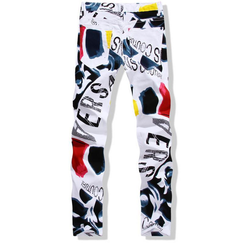 Venta al por mayor-Grande 28-44 Hombres impresos blancos Jeans Moda Masculino Pantalones vaqueros de algodón único para hombre Hombre Casual escombros Impresión Pantalones Hombre YN156