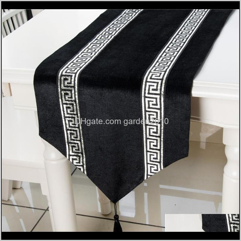 Cloths Textiles Home & Garden Drop Delivery 2021 33 X 180Cm Luxury Runner With Tassels For Dining Table Wedding Party Christmas Cake Floral S