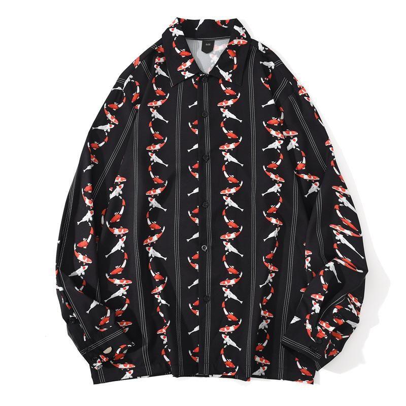 잉어 풀 프린트 힙합 streetwear 손실 긴 소매 셔츠 남자 가을 품질 폴리 에스터 소프트 부드러운 캐미사 Masculina S-XXL 남자 캐주얼 셔츠