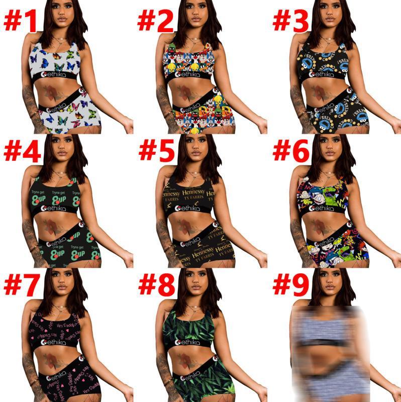 Yaz Bayan Eşofman Iki Parçalı Ethika Setleri Seksi Yelek + Şort Yoga Pantolon Kıyafetler Moda Kazak Ince Nefes Fitness Mayolar