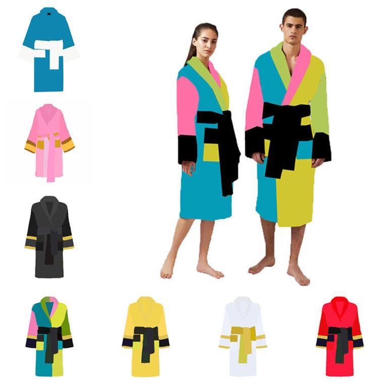 7 estilos amantes dormir ropa de baño bata pijamas algodón de lujo hombres mujeres de manga larga jacquard letra unisex camisón