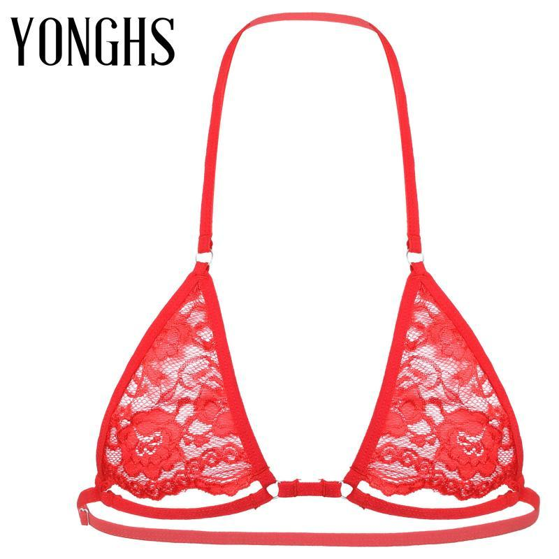Mens Sissy Crossdressing Lingerie Bra Adjustable Spaghetti Straps Nipples Hollow Out Gay Underwear Sexy Wire-free Unlined Bras