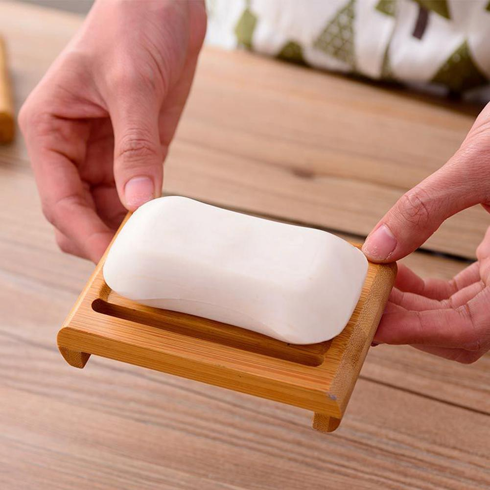 Wooden Natural Bamboo Soap Dishes Tray Holder Storage Soaps Environmental Rack Plate Box Container For Bathroom