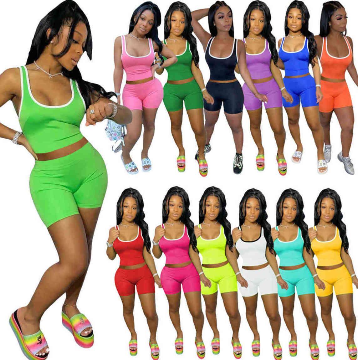 Летние Женщины Scestsuits 2 Шт. Набор Sportswear Shorts Outfits Сексуальный Сплошной Цвет Жилет Шорты Спортивная одежда Slimt-Рубашка Короткие Брюки бесплатно DHL 1108