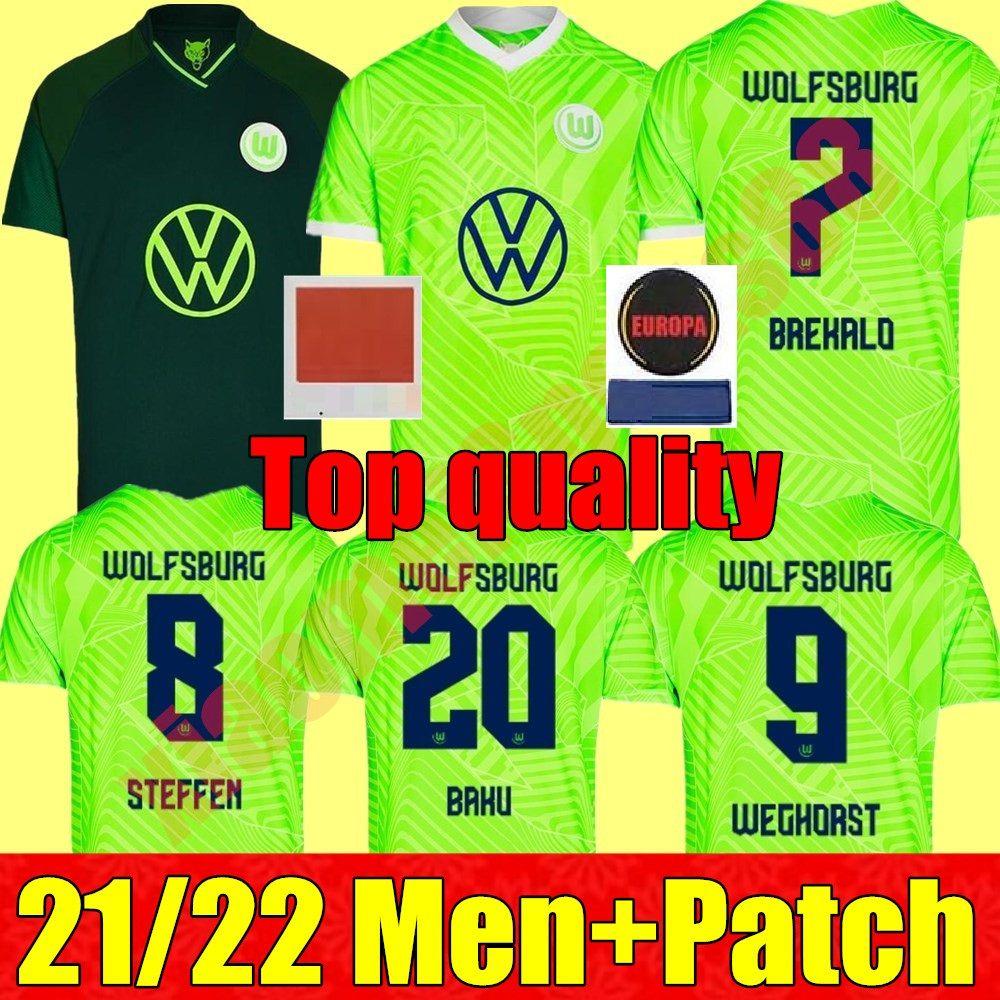 21 22 VFL Wolfsburg Soccer Jersey 2021 2022 Home Gincek Steffen Shirts de distancia Roussillon Mehmedi Mbabu Brooks Arnold Weghorst Fútbol Uniforme