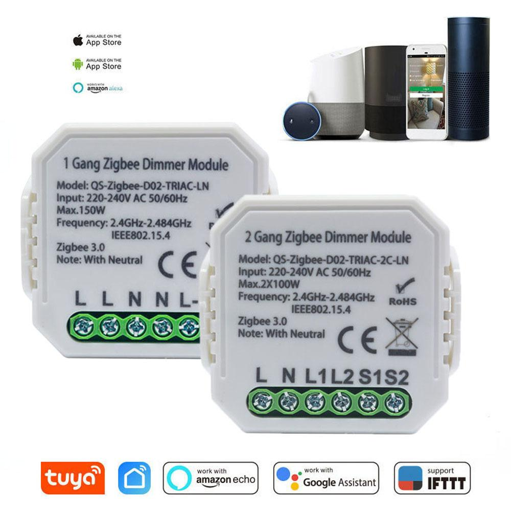 Tuya Zigbee 3.0 Dimmer Smart Switch Module Controller 2 Way Remote Control Relay Google Assistant Alexa V0CF