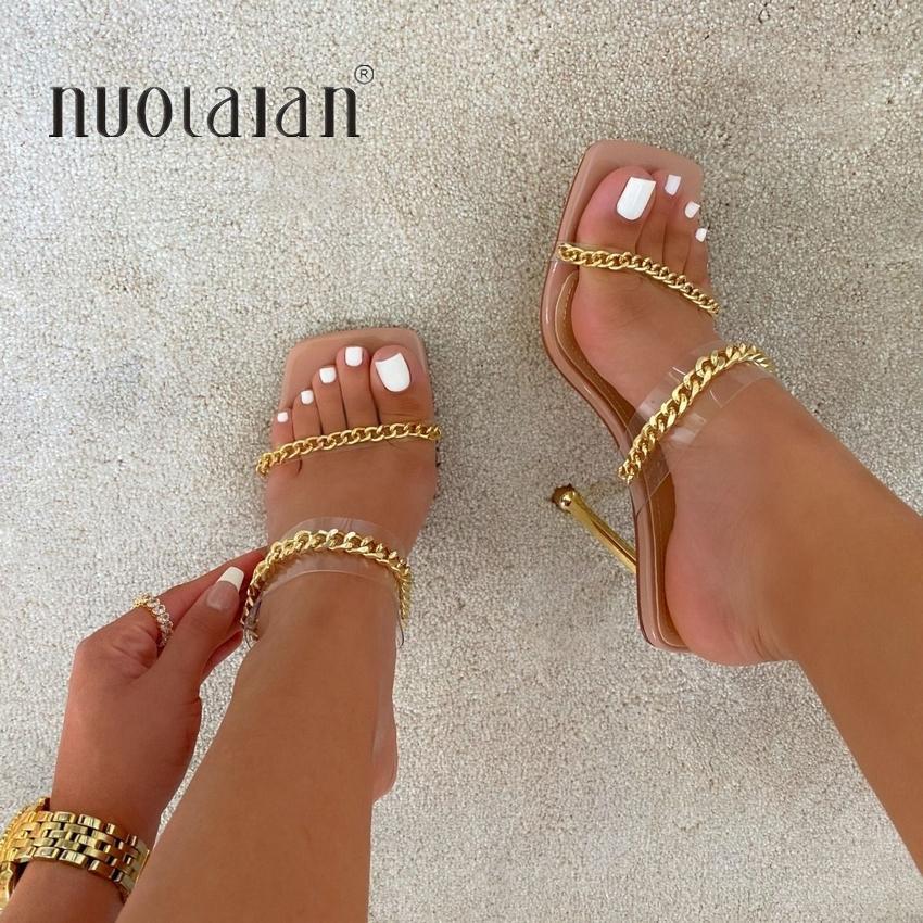 Sandal Sandals Sandales Sandales Square Toile Heel Mules Clear Pvc Transparent Talons High Talons Pantoufles Femelle Fashion Chaussures Chaussures Femme