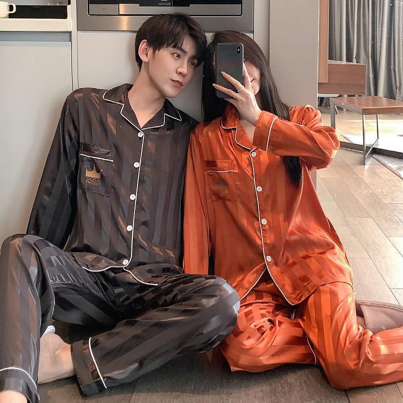 Männer Schlafwäsche Paar Pyjamas Gefälschte Seide Frauen Langarm Herbst Mann Pyjama Lose Männer Pijama Set Plus Size HomeWear Shirt