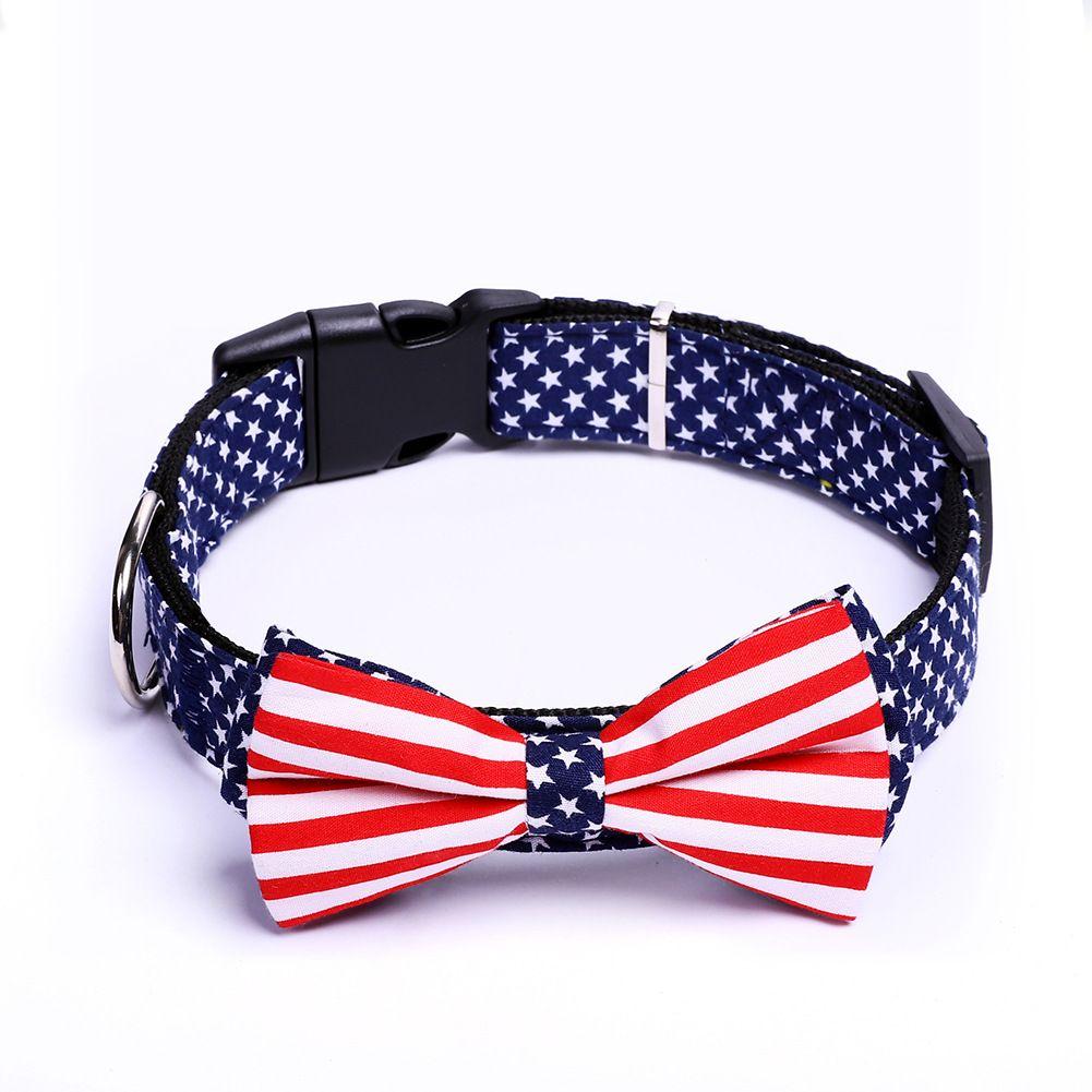 Verstellbare Haustierkragen Amerikanische Flagge Druck Bogen Kätzchen Abnehmbare Katze / Hundehalsbänder