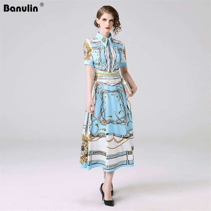 Moda Designer Dress Vestido Primavera Verão Mulheres Manga Curta Floral Impressão Slim elegante Plissado ES B6222 210521