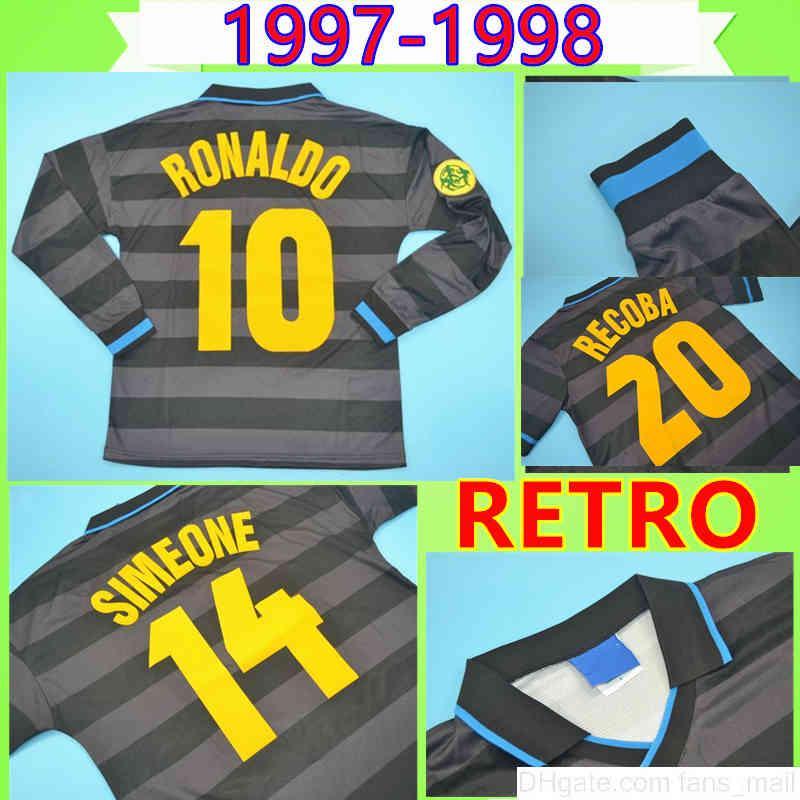 # 10 Ronaldo 1997 1998 Retro Fussball Jersey Zamorano Langarm Fußball Hemd Uniform Schwarz 97 98 Klassischer Djorkaeff Simeone Vintage Maglia da Calcio