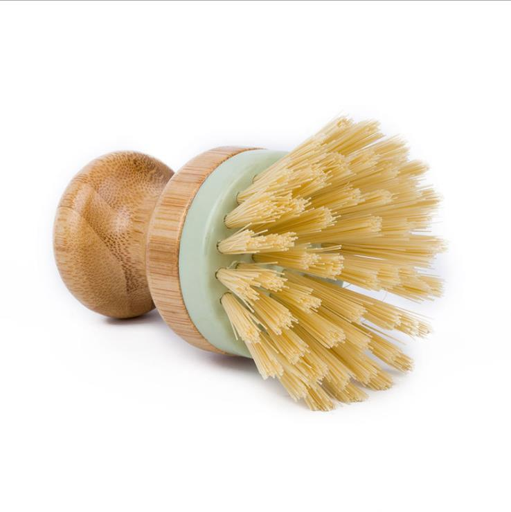 Bamboo Mini Scrub Brush Kitchen Tools Coconut Bristles Pot Brushes Dish Scrubber Sink Bathroom Household Clean GWF8583
