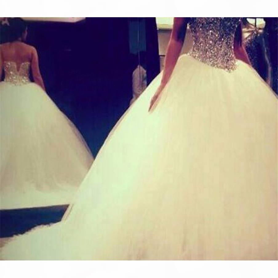 Новые Bling Bling Silver Builing Top Свадебное платье 2019 Милая Шея Шариковое платье Бисероплетение Тюль Свадебные платья Робу де Сари