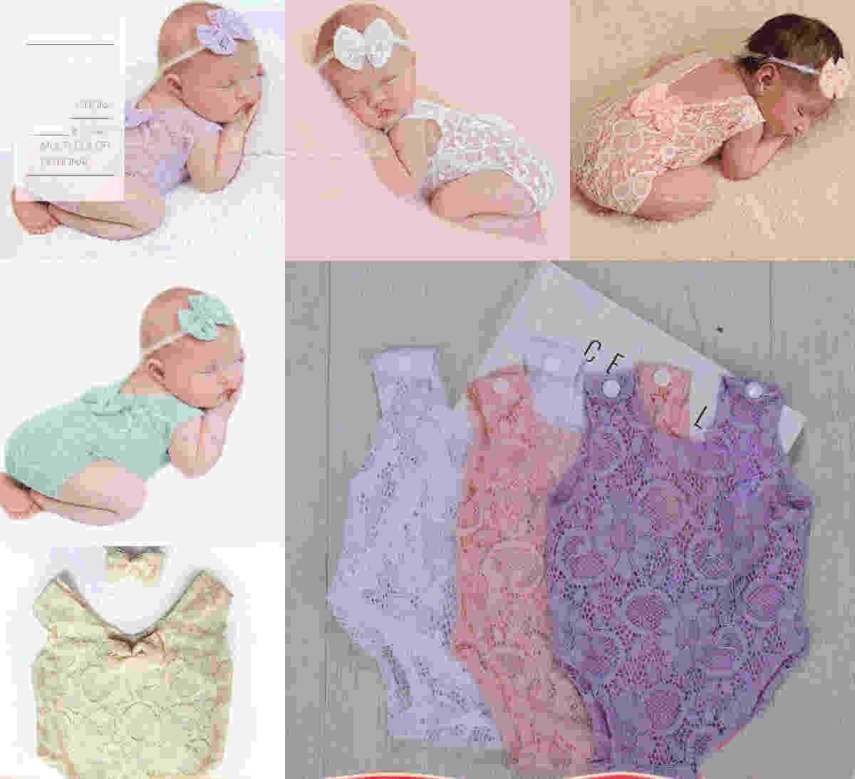 10 unids recién nacido bebé encaje hueco mameluco con la diadema de arco para niños infantil fotos de fotos de ropa de ropa de ropa de ropas de una sola pieza mamelucos de una pieza Monos de mono Ropa 5 colores
