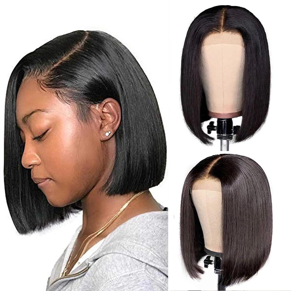 Short Bob style 13*4 brazilian full Lace Front Wig 150% Straight synthetic Wigs Pre Plucked With Baby Hair