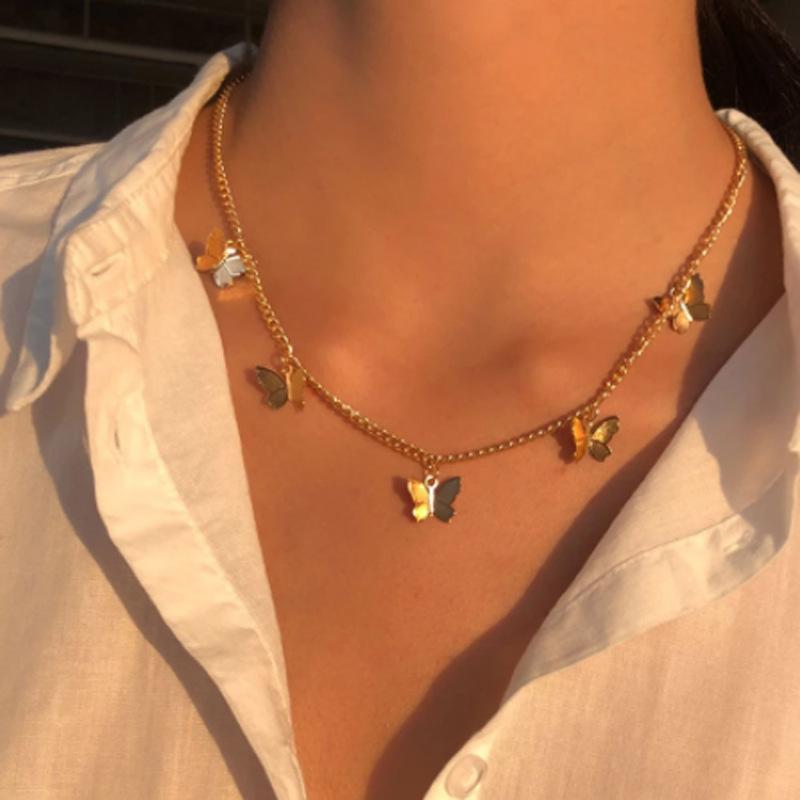 خمر متعدد الطبقات قلادة فراشة قلادة للنساء الفراشات القمر ستار سحر المختنق القلائد بوهو الأزياء والمجوهرات هدية