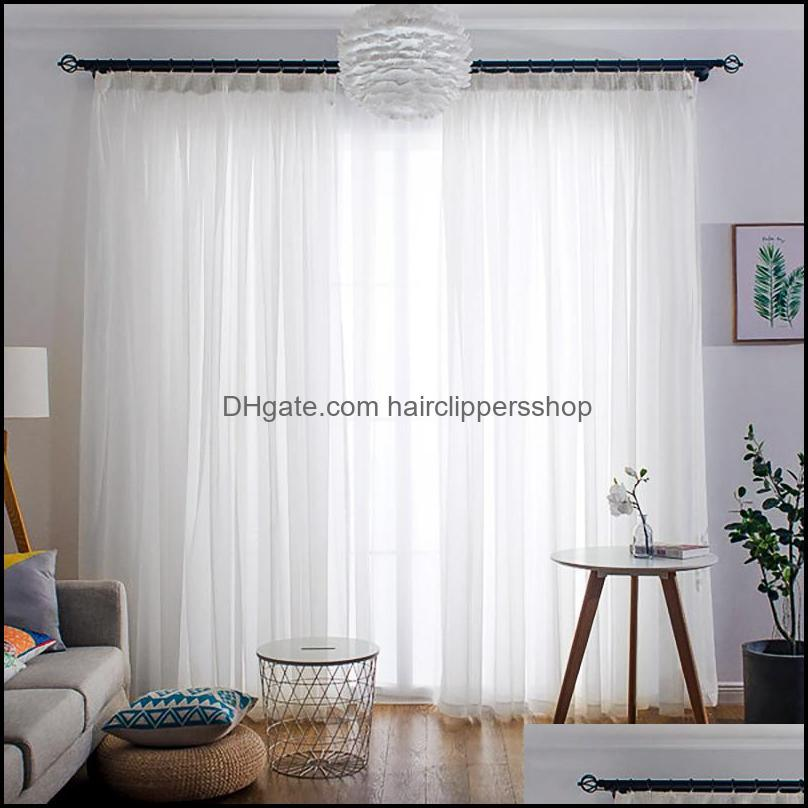 Curtain Drapes Deco El Supplies Home & Gardentransparent White Tle For Living Room Bedroom Kitchen Short Small Voile Sheer Curtains Modern W