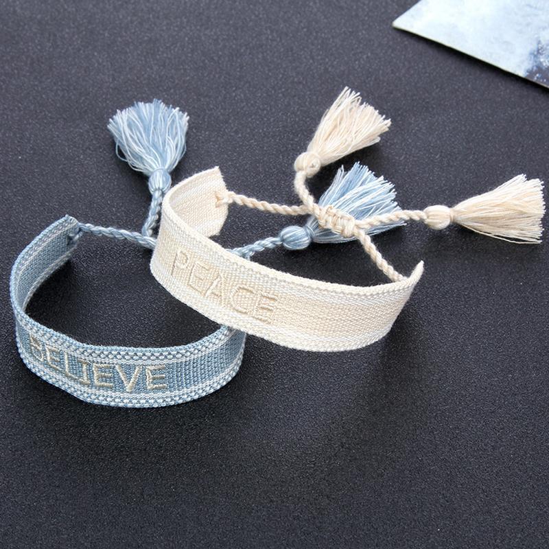 Frauen Mädchen Geflochtene Quaste Armband Boho Stil Stickerei Buchstaben Armbänder Für Geschenk Party Modeschmuck Zubehör