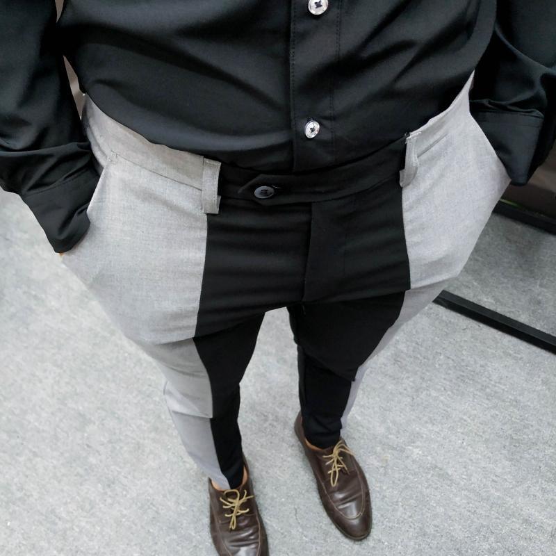 Mode contraste de mode couture slim ajustement pantalon costume pantalon pantalon pour homme smart bureau pantalones hommes chics costumes hommes
