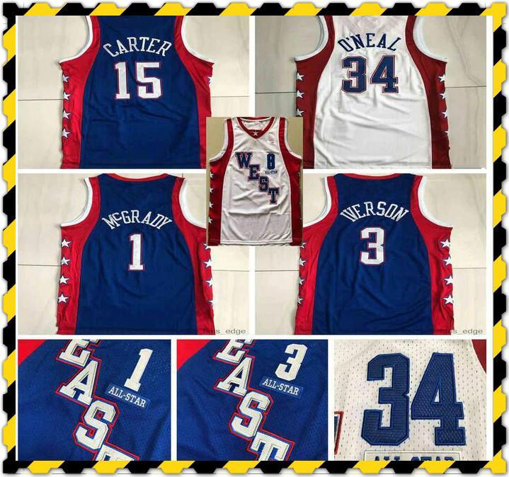 Otantik Dikişli 2004 All-Star Tracy 1 McGrady Vince 15 Carter Mitchell Ness Hardwoods Allen 3 Iverson Swingman Basketbol Formaları
