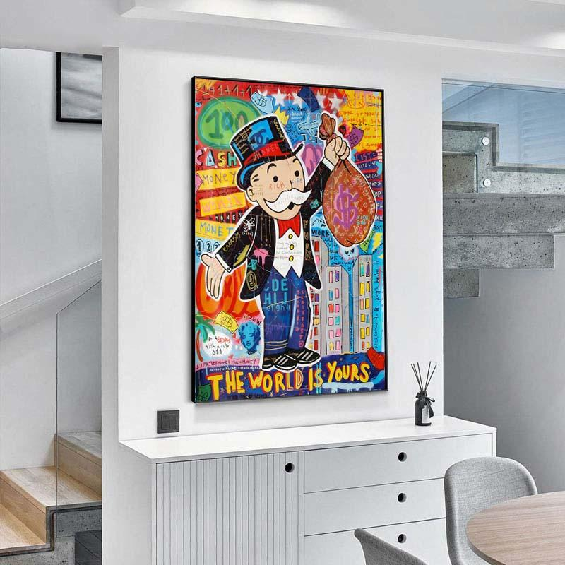 Alec Monopoly Graffiti Art Money Paintings on The Wall Art Canvas Posters and Prints The World is Yours Modern Home Pictures