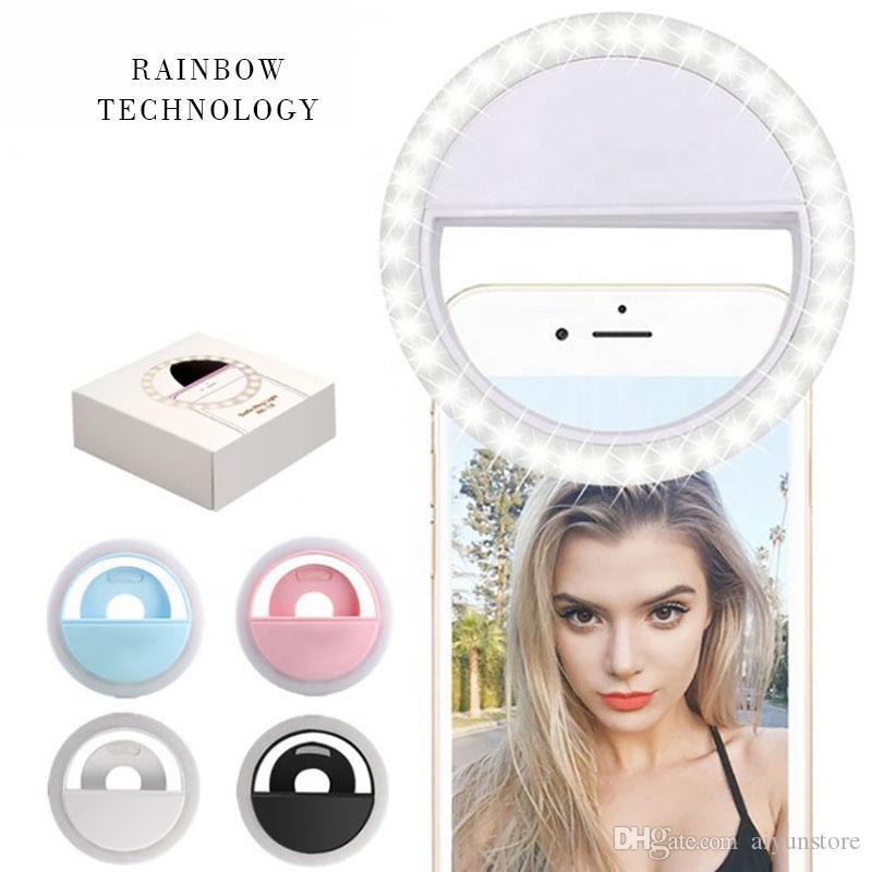 Enchimento do telefone móvel LED luz de alta definição frio e quente iluminação luzes selfie Live beleza redonda anel portátil com pacote de papel