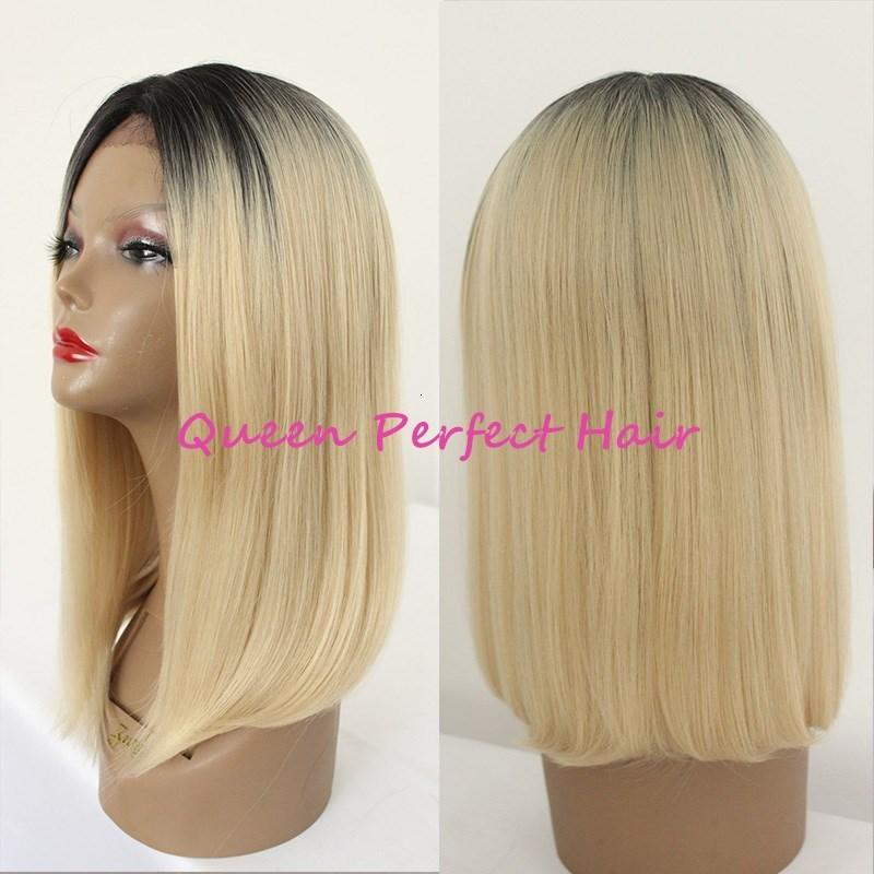 Новые моды кружева фронт парики два тон # 1BT # 613 OMBRE Blackblonde 12 дюймов прямой короткий короткий боб стиль синтетические термостойкие светлые парики волос