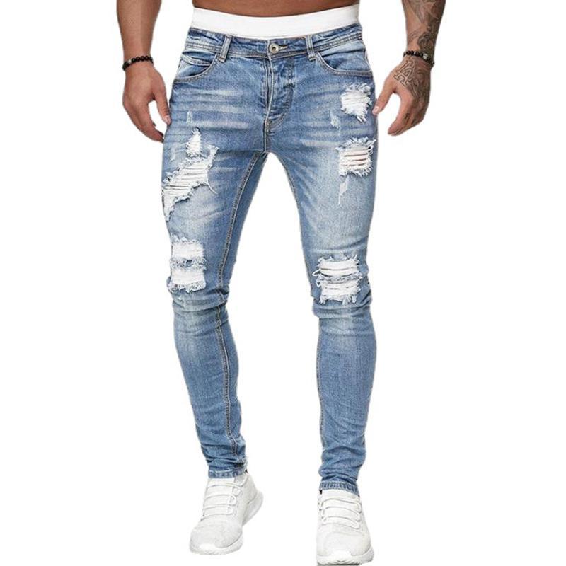Moda Erkek Kot Pantolon Delik Mavi Skinny Kot Basit Fermuar Sıkı Pantolon Nefes Ve Rahat Erkek Pantolon