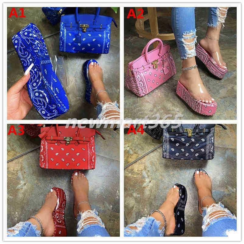 여성 슬리퍼 큰 두꺼운 바닥 샌들 오픈 발가락 프린트 플랫 슬리퍼 숙녀 신발