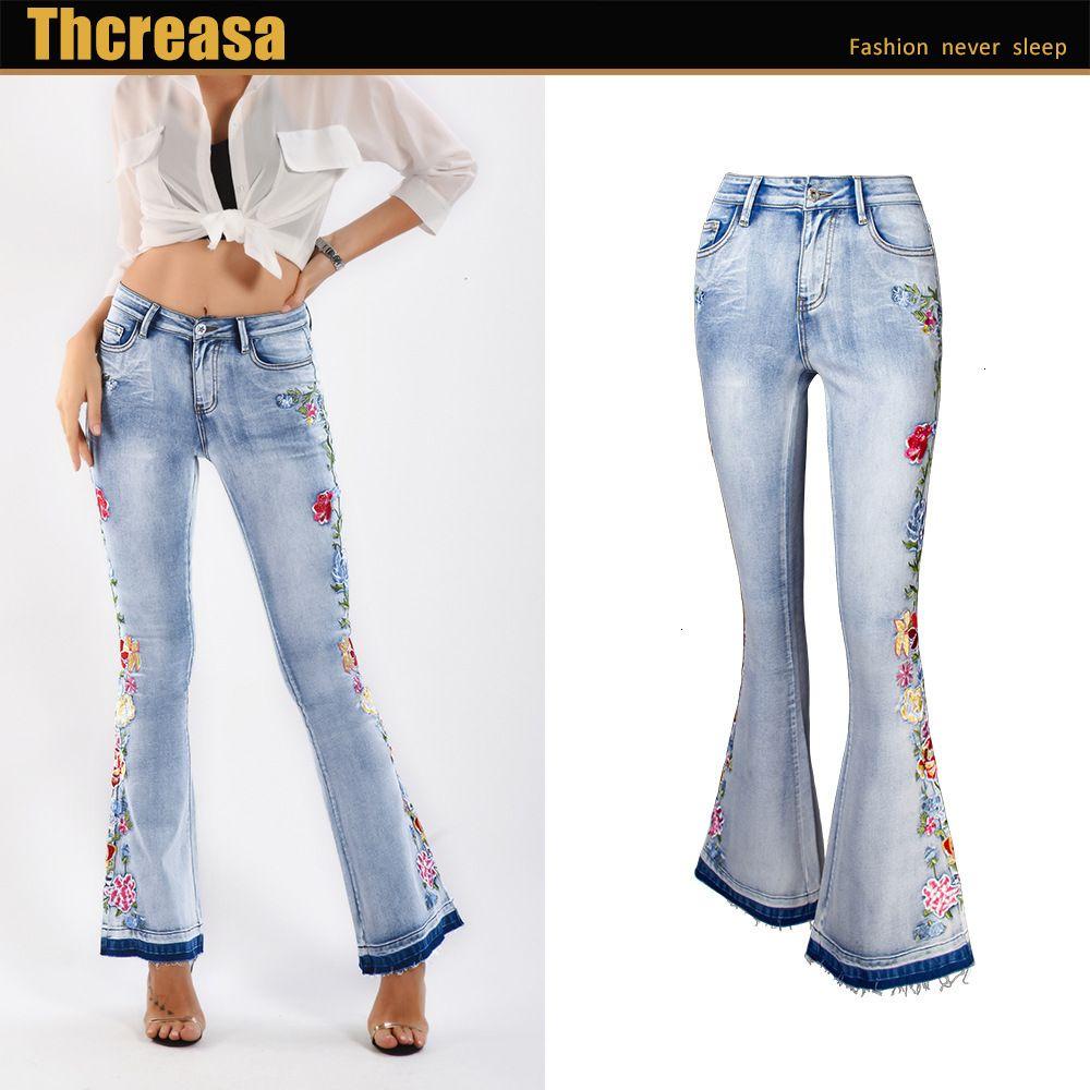 3D ricamo denim flare pantaloni donne retrò jeans strappati jeans larghi pantaloni gamba della gamba signora casual campana a campana flare flare pantaloni femmina