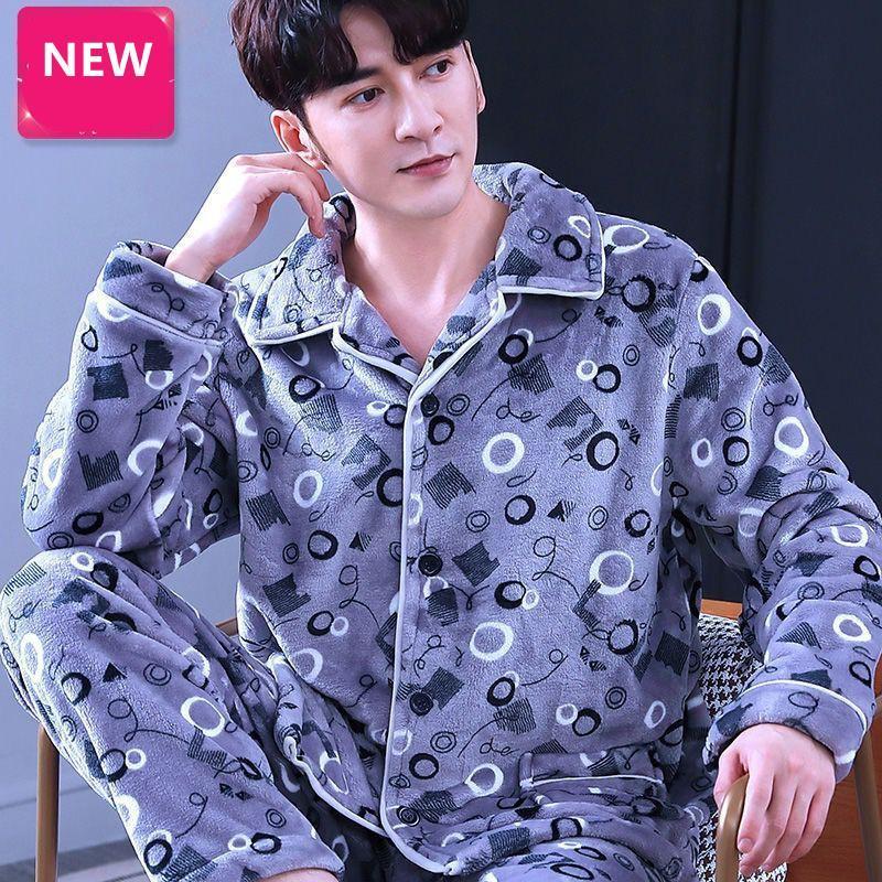 Männer Winter-Pyjamas-Flanell dicke lässig-Pyjama-Mann-Stickerei Sleepwear warmes langes Hemd-Hosen-Herren große Größen Kpacotakowka