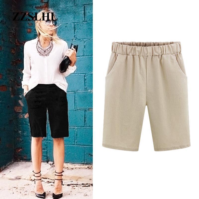Pantalones cortos de 6xl Tamaño Tamaño Pantalones cortos de algodón suelto Color sólido Casual Shorts Femenino Talla grande 2020 Verano Grande