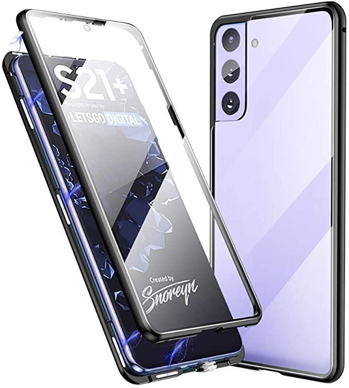 Magnetische adsorptie Metalen frame Case Front en Aug Tempered Glass Full Screen Coverage voor Samsung Galaxy S8 S9 Plus Note 10 PRO 30PCS / PARTIJ