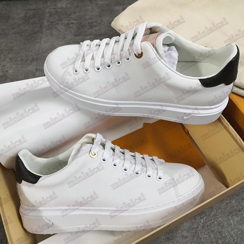 Herrenzeit-Time-Turnschuhe geprägte Leder-Krawatten-Designer-Plattform-Schuhe Frauen weiße Monogramm-Blumen-debant-CALF-Erhöhter Trainer
