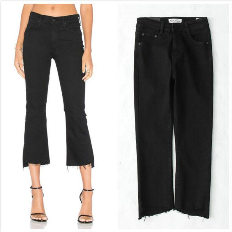 Women's Jeans 2021 Fashion Women Summer Female Denim Pants Black High Waist Casual Slim Stretch Tassel Irregular Flare Jenas Woman