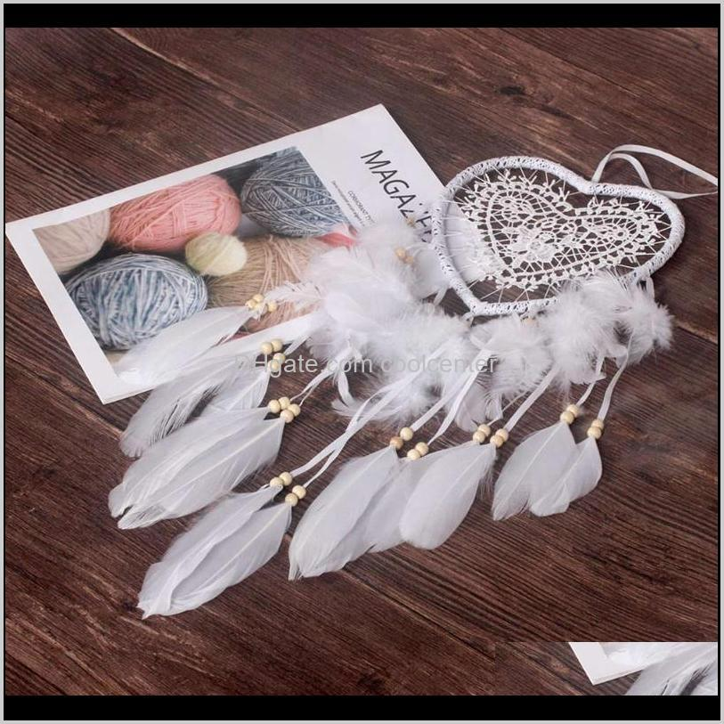 Decorative Objects Figurines Aents Décor & Garden Drop Delivery 2021 Dromenvanger Creative Led With Feather Night Light Bedside Wall Hanging
