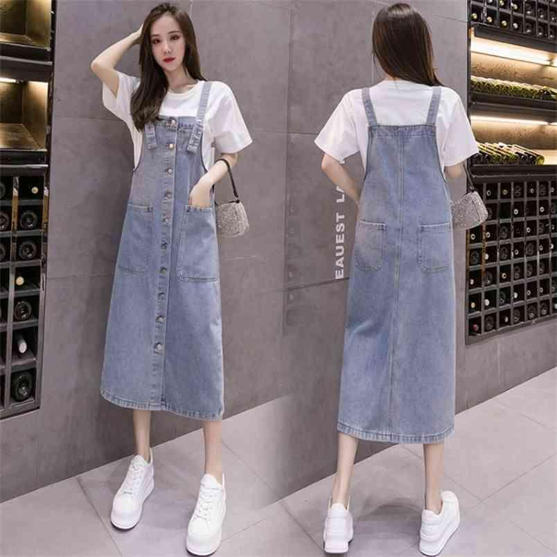 Jeans Kleid Single Breasted Große Taschen Sommer Midi Womens Denim Sommerkleid Plus Größe Damen Lose Blau Hosentum 5XL 210604