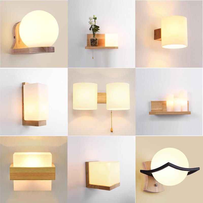 침실 침대 옆에 대 한 나무 노르딕 크리 에이 티브 벽 램프 침대 옆에있는 침지 인테리어 장착 조명 sconce 실내 장식 고정물 램프