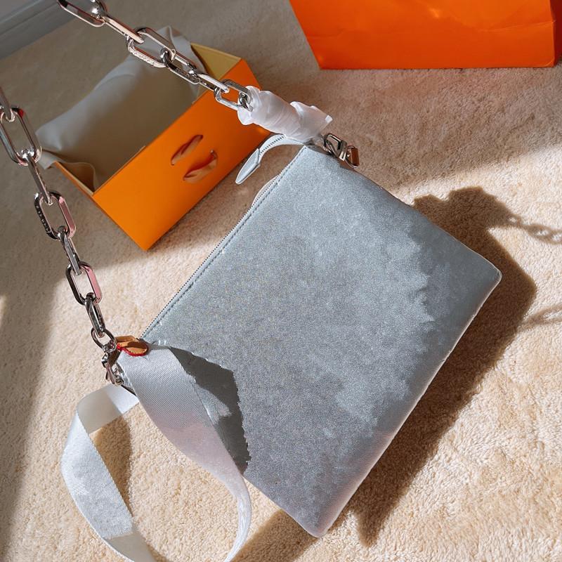 2021 المرأة الفضة crossbody سلسلة أكياس فاخرة محافظ صغيرة اليد مصممي الكتف رسول حقيبة جودة عالية مع الزهور تنقش سعة كبيرة L21040601