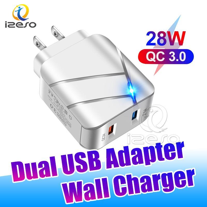 QC3.0 Dual Ports Caricabatterie da muro USB 5V 3A UE Plug US US Adattatore di ricarica veloce per iPhone 12 Pro Max Samsung S21 Izeso