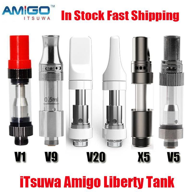 원래 itsuwa amigo liberty v1 v5 v9 v20 x5 분무기 카트리지 0.5ml 1.0ml 탱크 세라믹 코일 두꺼운 오일 기화기 카트 최대 배터리 100 % 정통